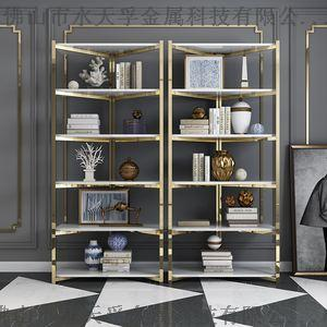 海南现代创意金色不锈钢书架,金色不锈钢书柜定制865850215
