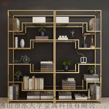 海南现代创意金色不锈钢书架,金色不锈钢书柜定制119347825