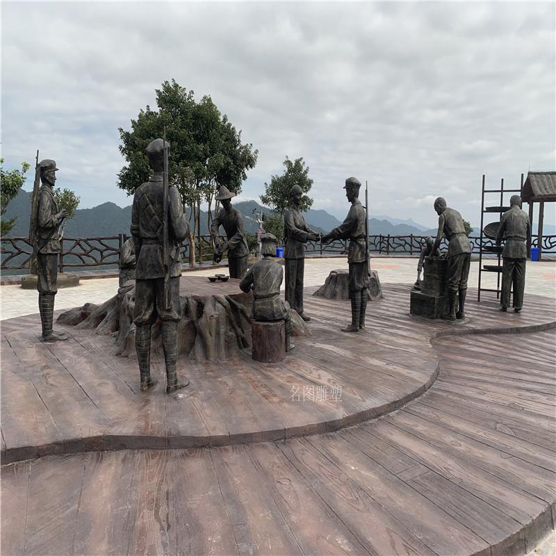 梅州玻璃钢红色主题雕塑打造爱国主题仿铜人物雕塑128591195