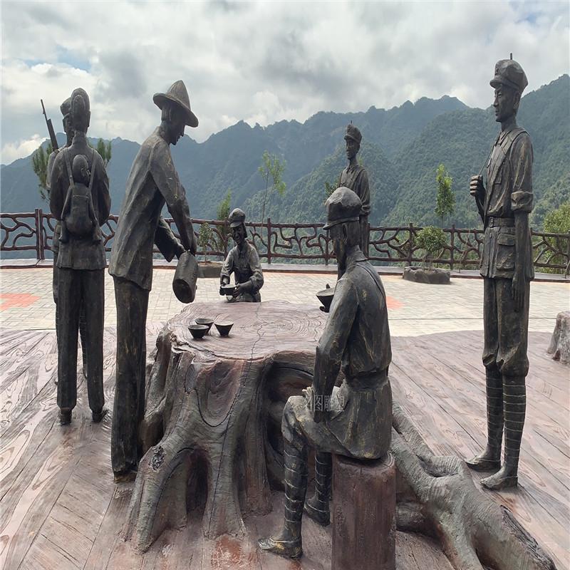 梅州玻璃钢红色主题雕塑打造爱国主题仿铜人物雕塑128591175