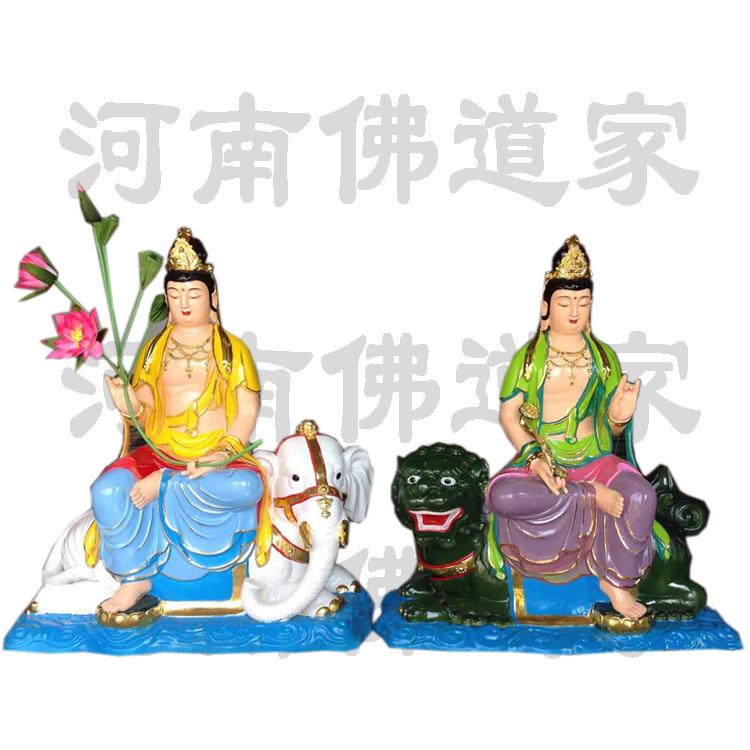 文殊菩萨坐青狮彩绘像868590842