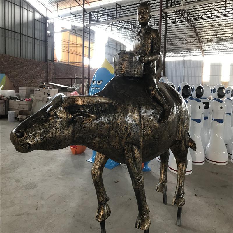 玻璃钢仿铜人像雕塑 公园景观人物雕塑 玻璃钢造型154150135