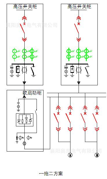 高压固态软起动柜一拖二一次方案图