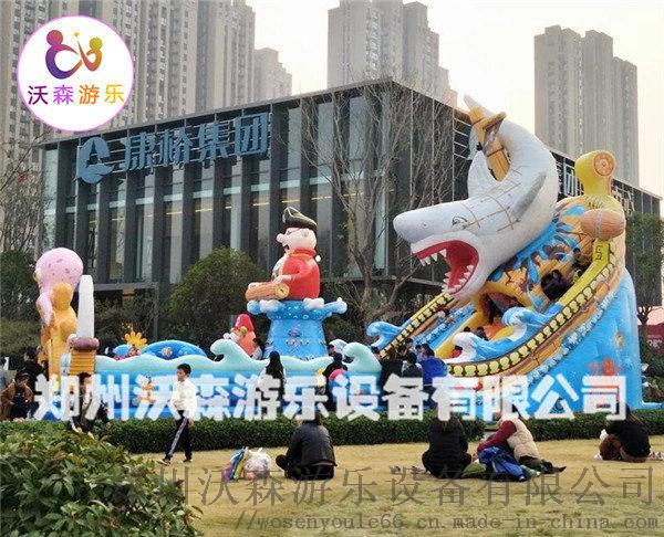 沧州充气城堡厂家,带螺旋滑梯的叫巨鲨来袭充气蹦蹦床95786992