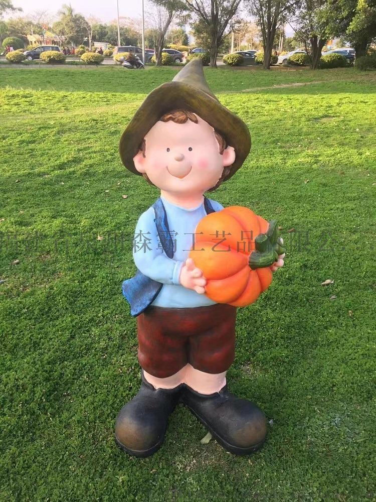 卡通人物丰收节小孩 户外园林树脂雕塑批发 泉州85539835