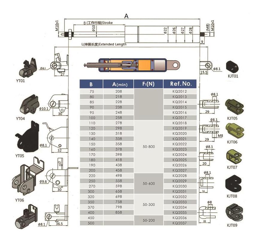 手动调节气弹簧 钢制气弹簧137304375