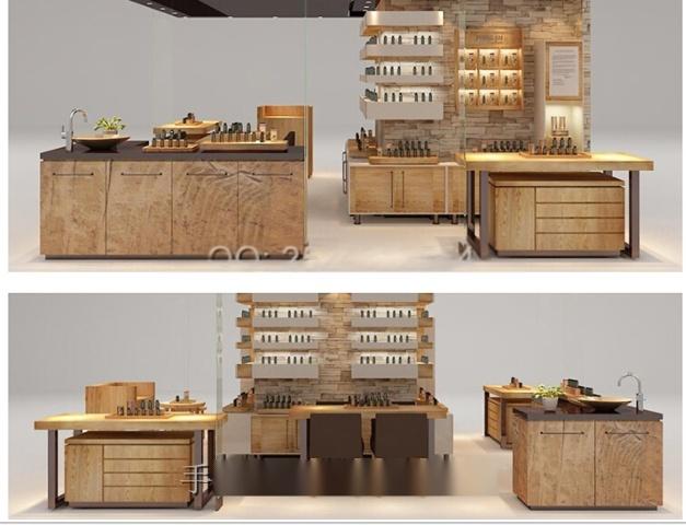 仿实木复古化妆品展柜1