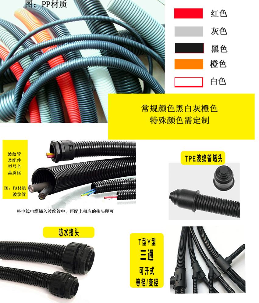 电动三轮车线束穿线管PP阻燃塑料波纹管AD10102311465