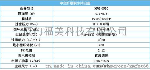 HFM-0530中空纤维膜小试设备-标准设备参数