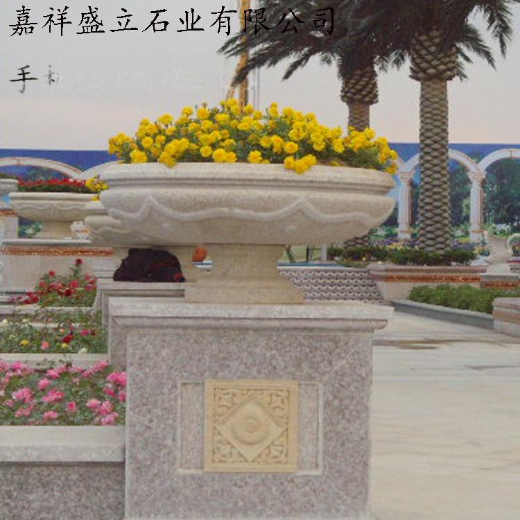 花岗岩石雕花盆/黄锈石花钵/石材加工园林小品花盆771397792