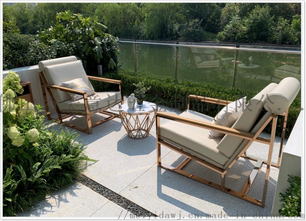**会所不锈钢沙发组合 电镀异形不锈钢休闲沙发定做870686955