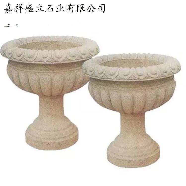 花岗岩石雕花盆/黄锈石花钵/石材加工园林小品花盆771397782