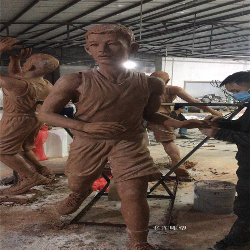 玻璃钢打篮球人物雕塑校园广场仿铜人物雕塑133446775