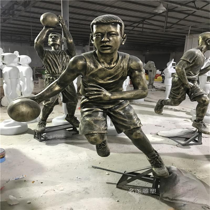 玻璃钢打篮球人物雕塑校园广场仿铜人物雕塑133446805