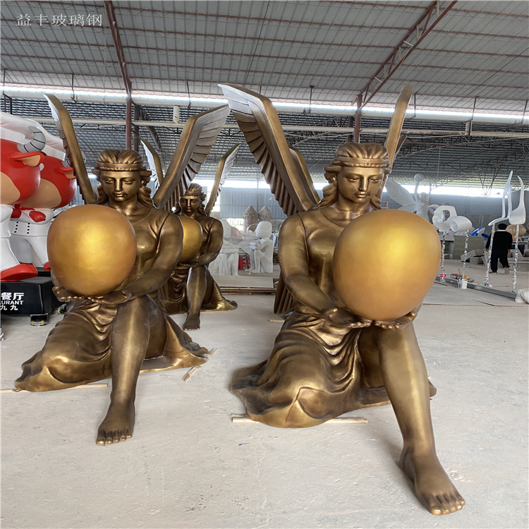 甘肃楼盘景观天使人物雕塑 玻璃钢胜利女神雕塑155580915