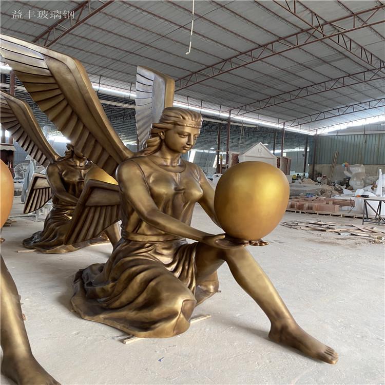 甘肃楼盘景观天使人物雕塑 玻璃钢胜利女神雕塑155580905