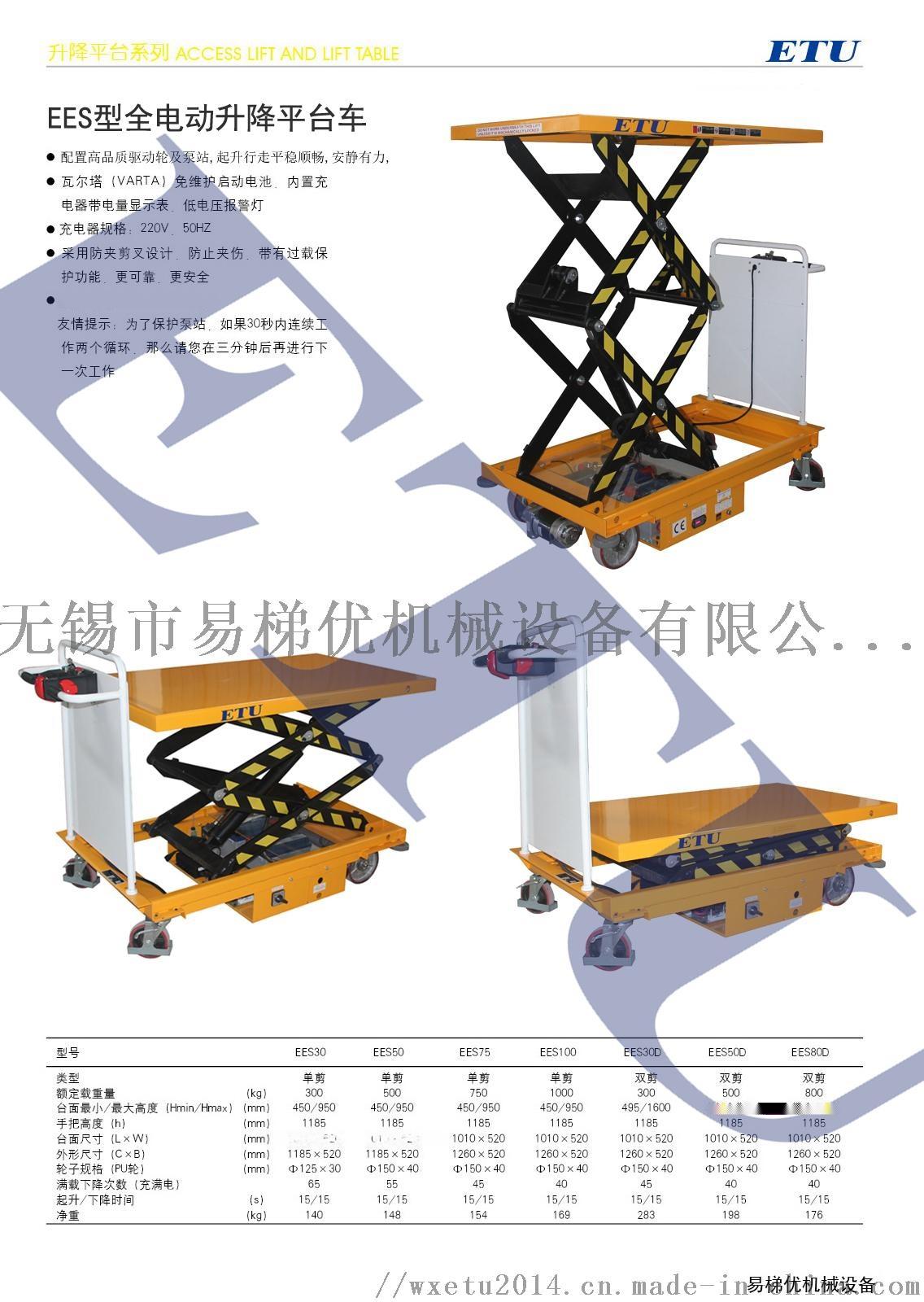 可移动式手动液压升降平台车全电动轻便手推装卸升降机100170615