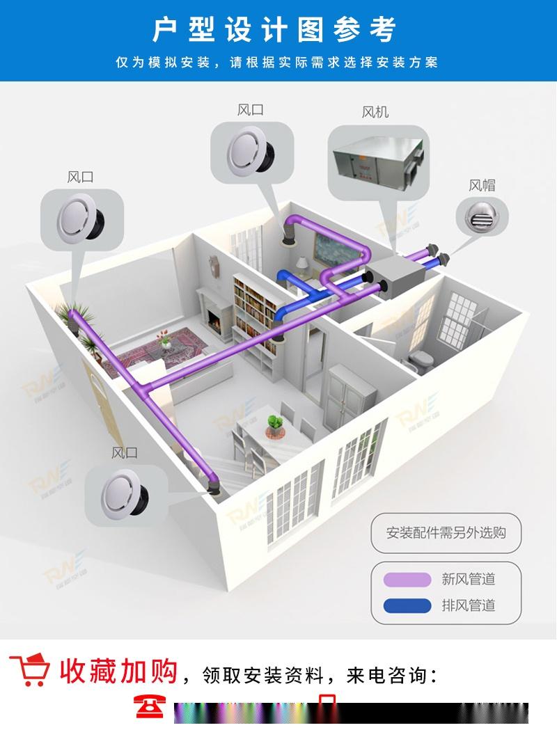 瑞能网咖火锅店商用新风系统 新风换气机 全热交换器106322062