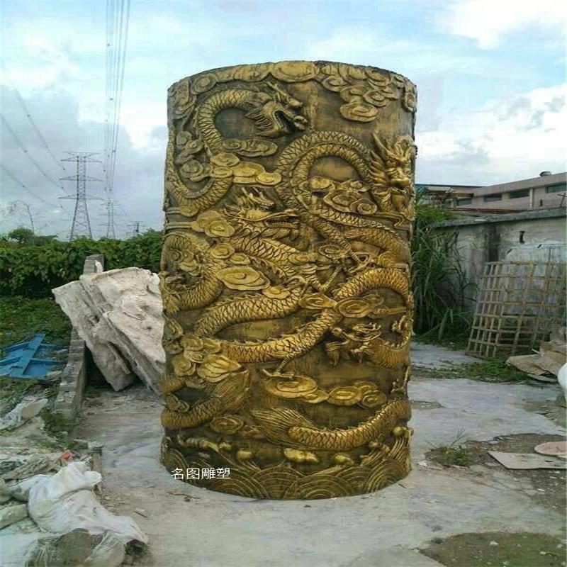 佛山玻璃钢龙柱雕塑造型 房地产玻璃钢罗马柱造型装饰893109225