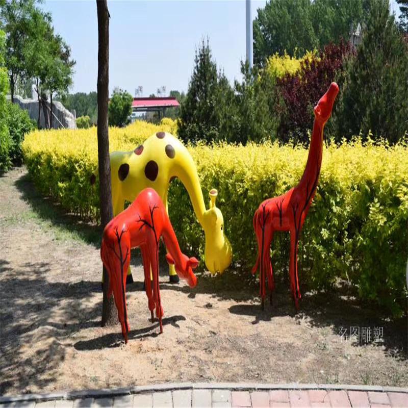 玻璃钢长颈鹿雕塑 动物鹿雕塑 公园绿地景观摆件919268095