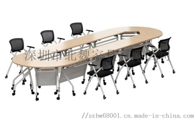 广东PXZ学校梯形拼接六边形创意带轮培训桌椅126941485