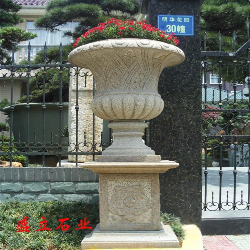 花岗岩石雕花盆/黄锈石花钵/石材加工园林小品花盆771397762