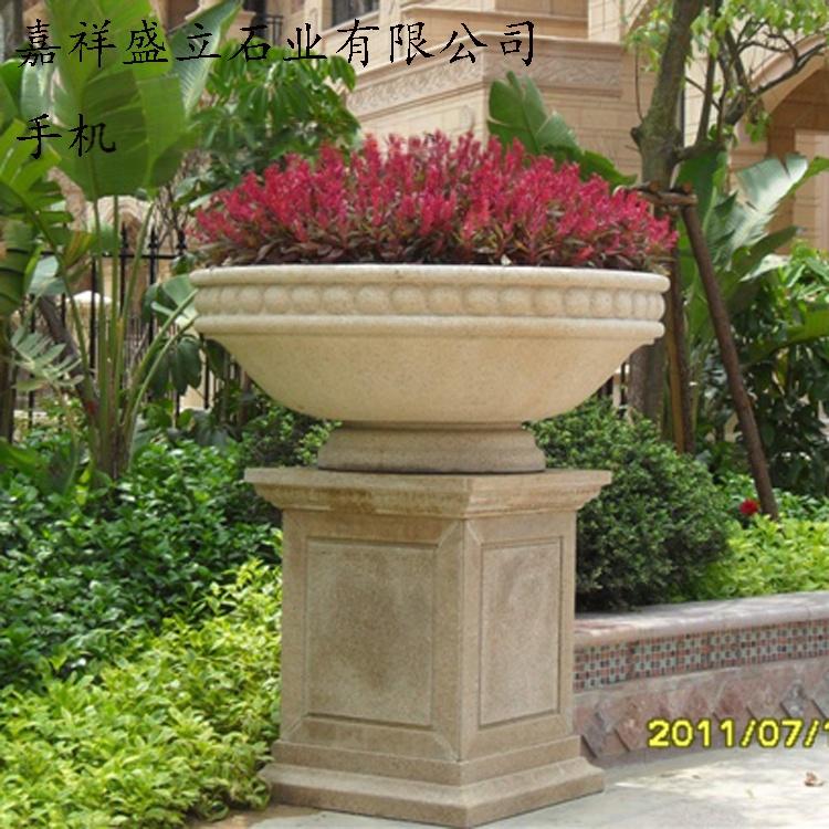 花岗岩石雕花盆/黄锈石花钵/石材加工园林小品花盆771397772