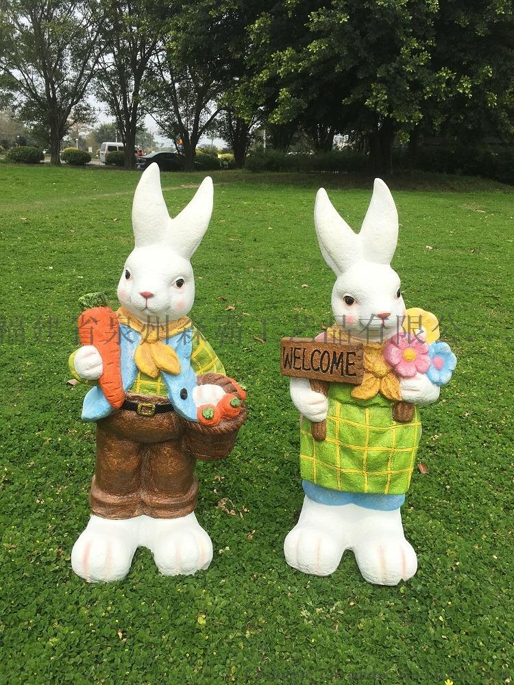 玻璃钢树脂工艺品 户外玻璃钢仿真兔子动物卡通摆件800223295