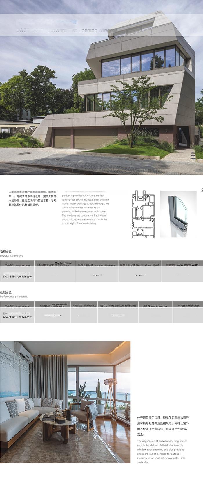 广东兴发系统门窗EW65、60、55外平开窗110853002