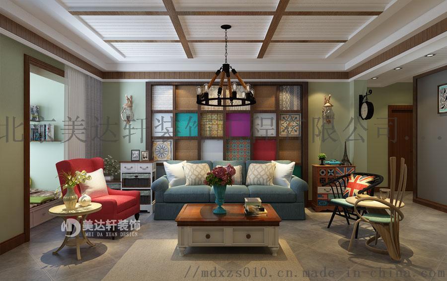 怀柔资深设计师李银波美式乡村风格沙发墙装修效果图.jpg