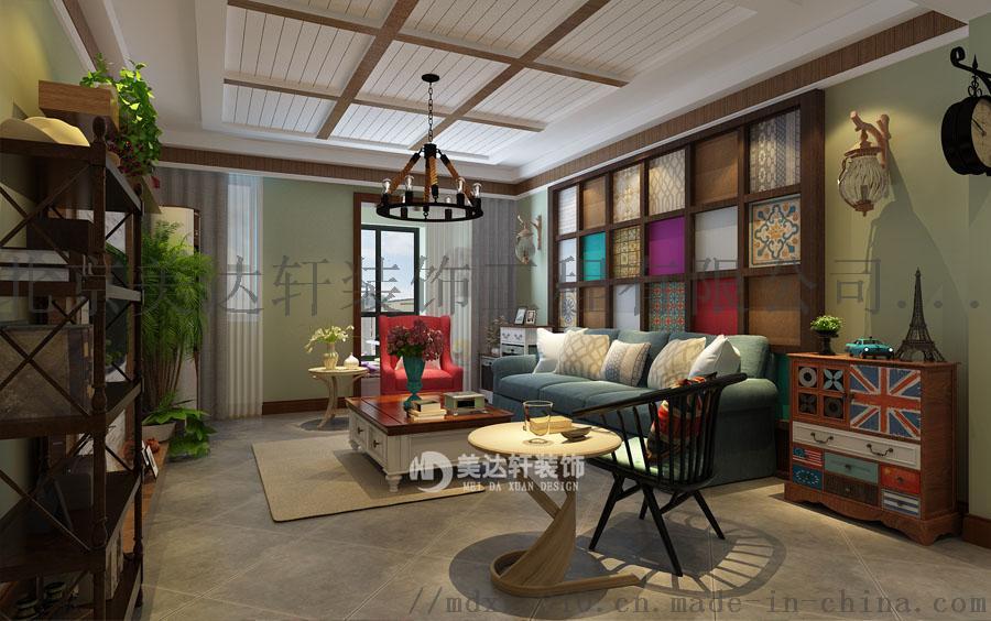怀柔资深设计师李银波美式乡村风格客厅装修效果图.jpg