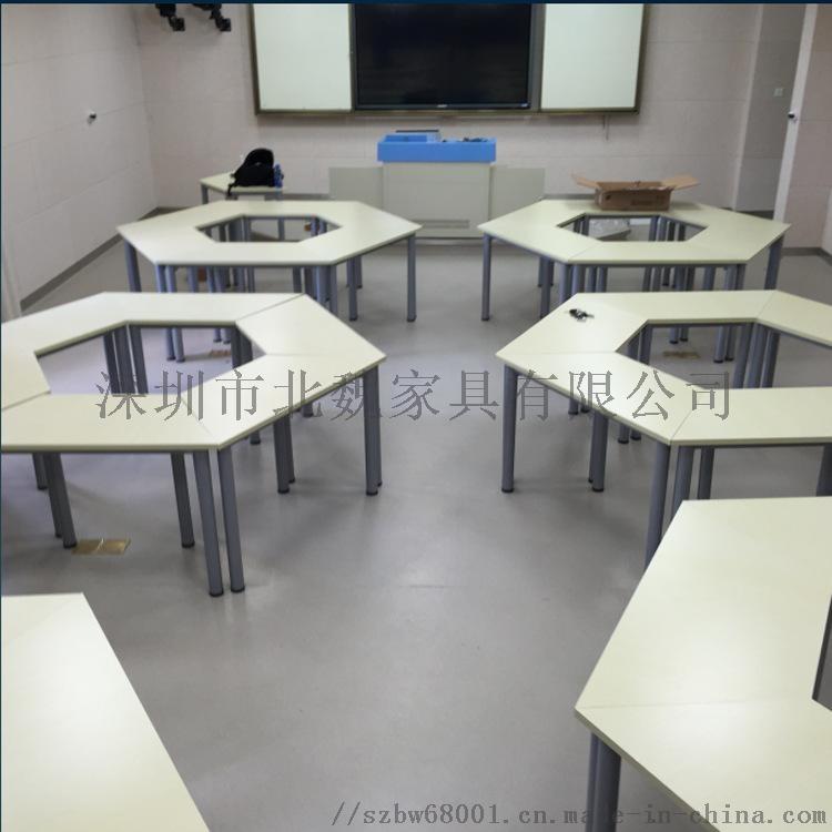 自由组合六边形培训桌-三角形桌子-创意带轮拼接桌124373915