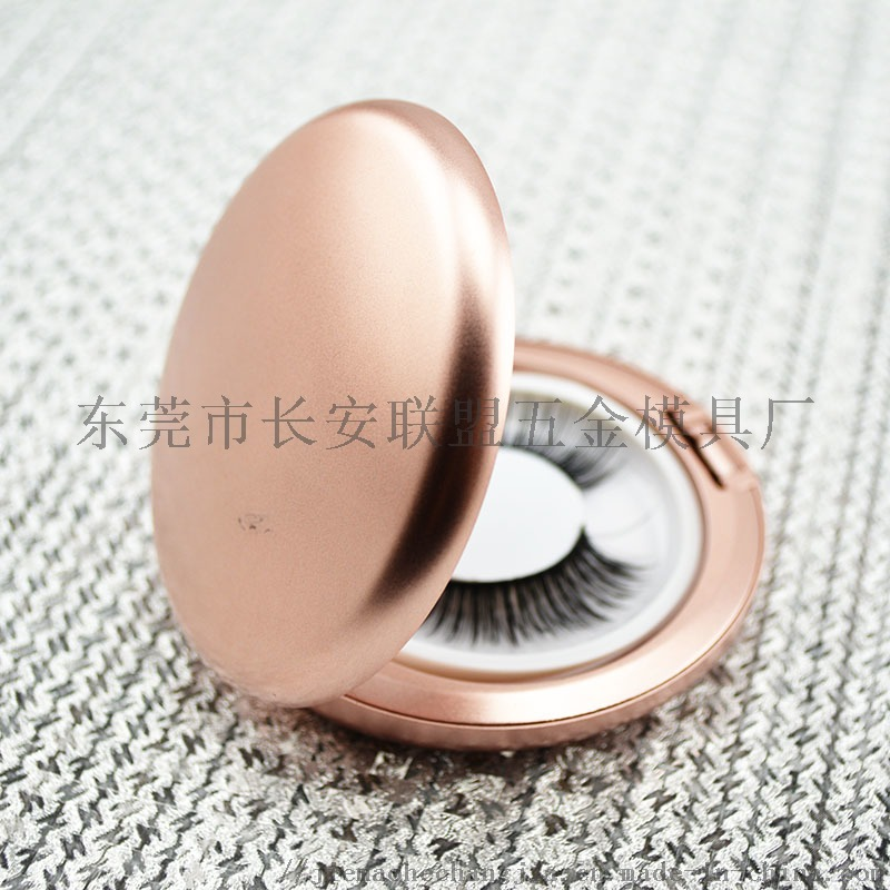 噴漆金色帶鏡圓形假睫毛盒775651592