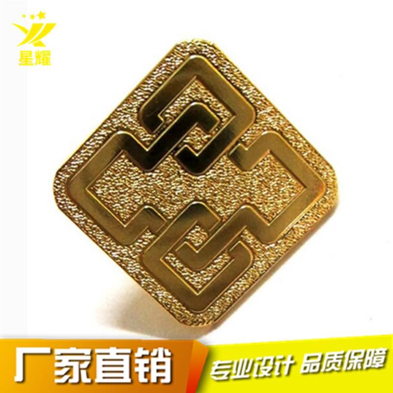 厂家定制金属纪念徽章镀金方形学校纪念礼品定做792190055