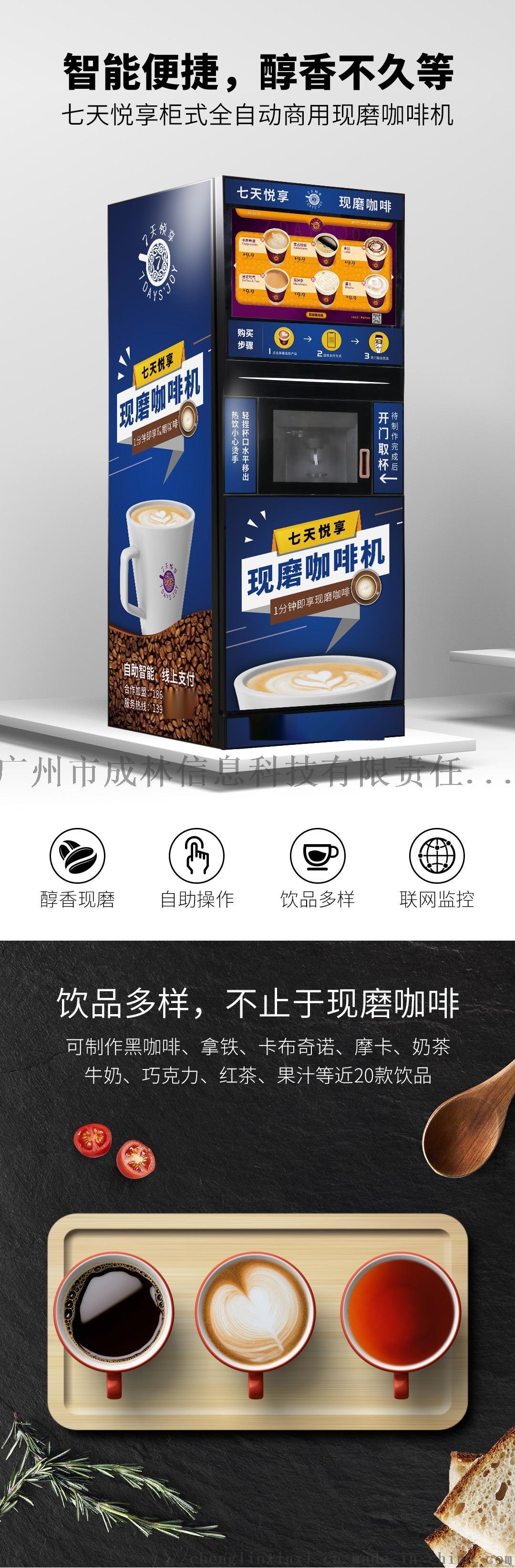 七天悦享现磨咖啡机 多功能商用全自动现磨咖啡机 全自动现磨咖啡机 商用全自动现磨桌面咖啡机144180985
