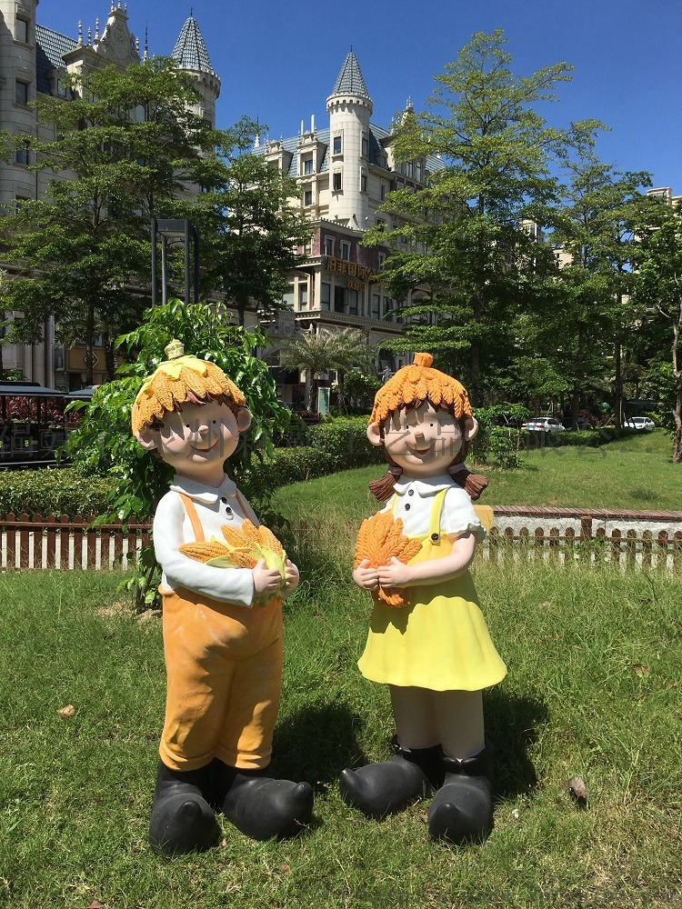 卡通人物丰收节小孩 户外园林树脂雕塑批发 泉州85540035