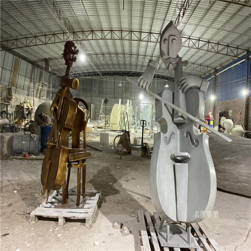 玻璃钢大提琴雕塑音乐会吉他手艺术雕塑造型133446365