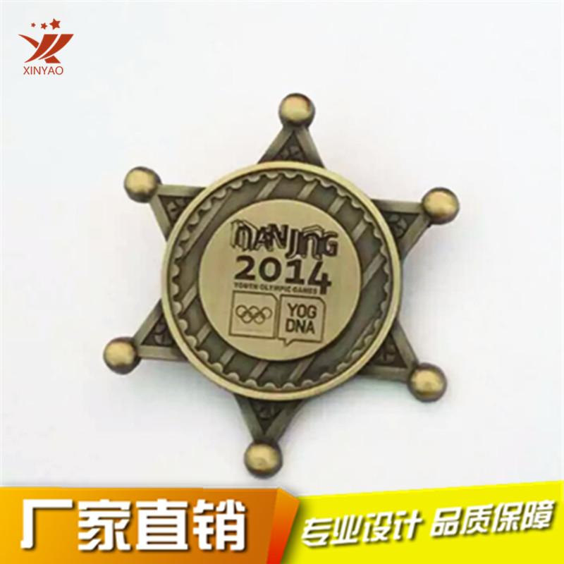 六角星金属徽章定做 青奥会纪念活动胸章制作795939955