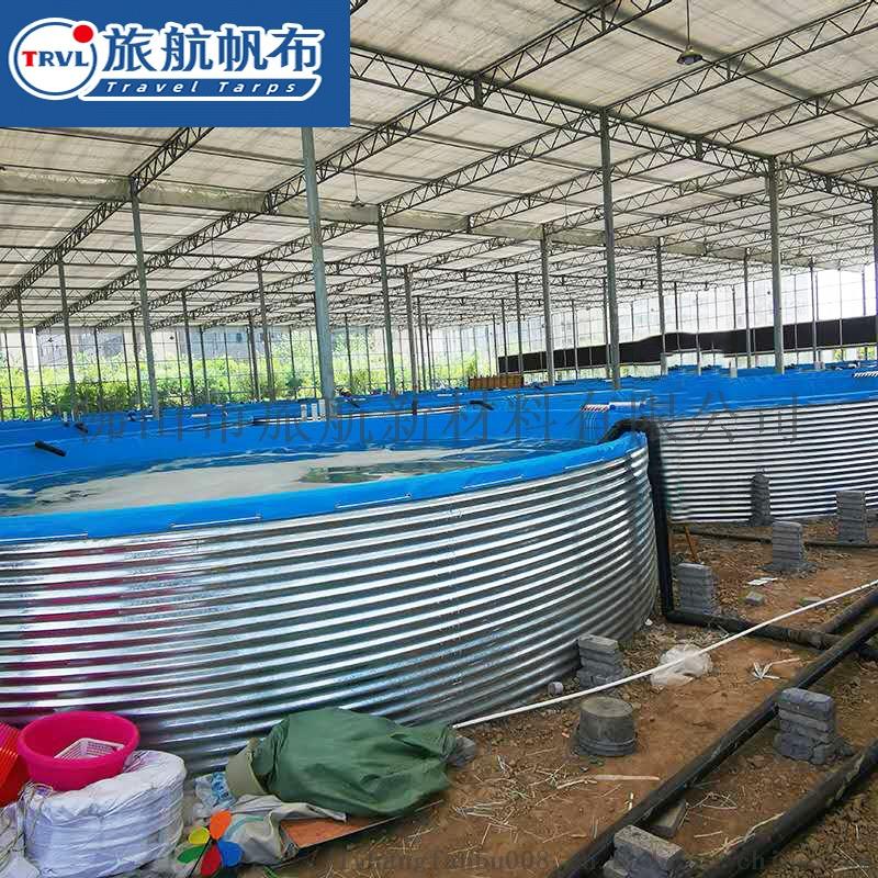 圆形帆布鱼池镀锌板水池高密度养鱼池带支架铁桶950561065