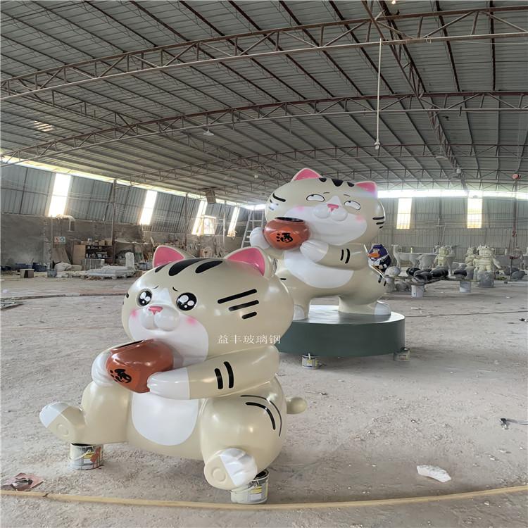 佛山玻璃钢卡通招财猫雕塑 商业广场吉祥物雕塑摆件937219835