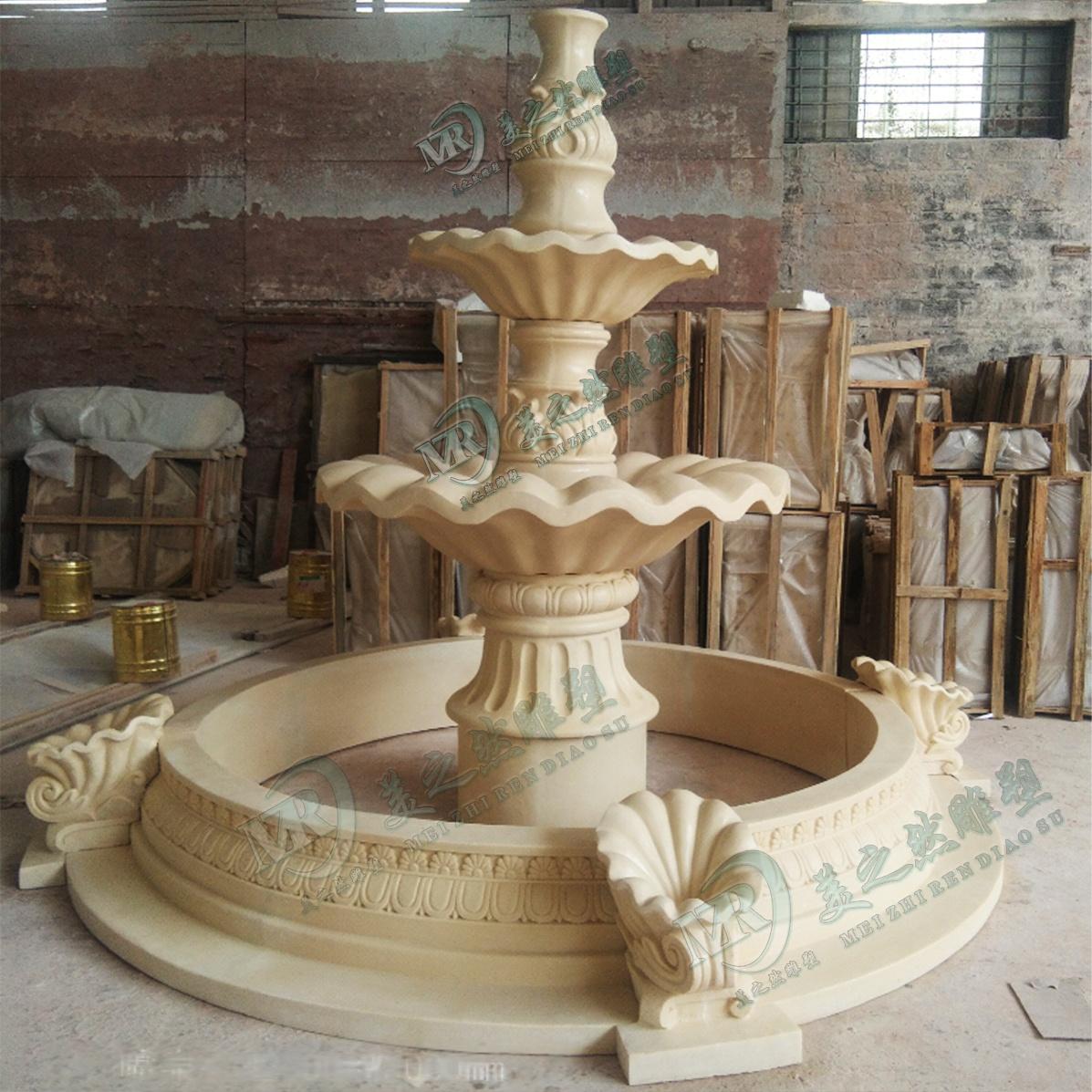 广东砂岩喷泉园林景观喷水池雕塑佛山砂岩雕塑113548355