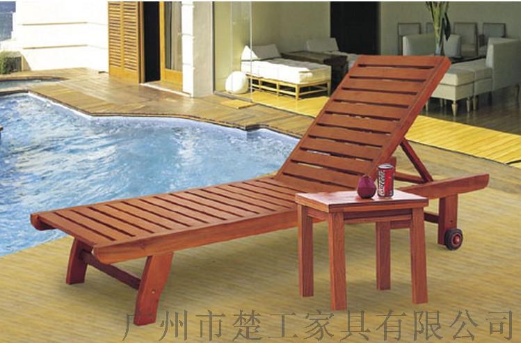 供应海边沙滩木质躺床组合 酒店游泳池实木折叠躺床145180185