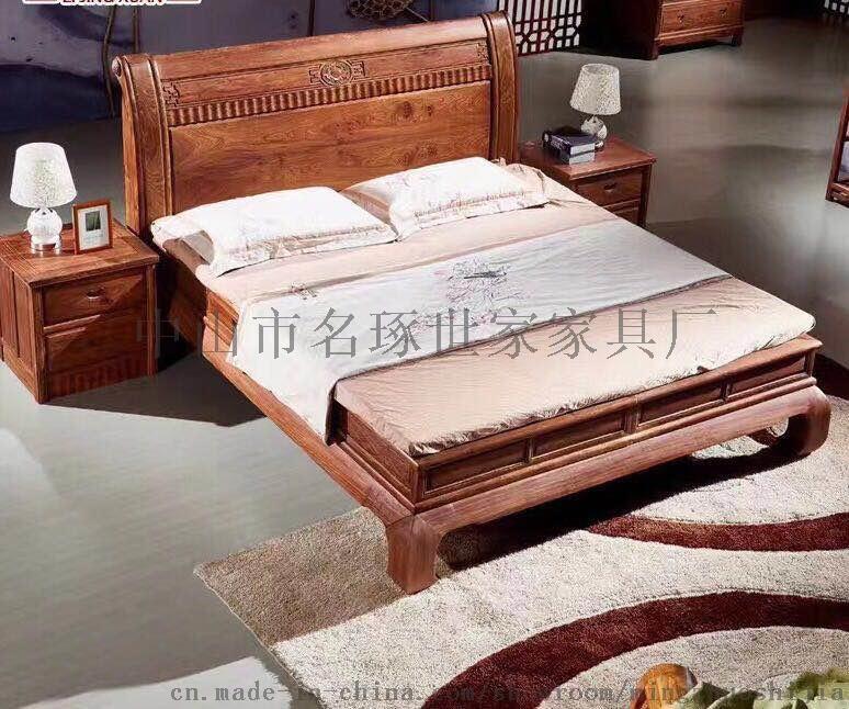 紅木大牀廠家名琢世家刺蝟紫檀新中式1.8米牀價格746199852