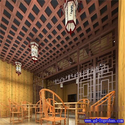 木纹铝格栅吊顶效果图 木纹铝窗花图片 木纹铝型材