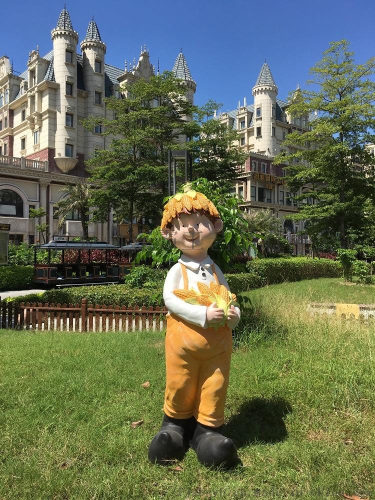 卡通人物丰收节小孩 户外园林树脂雕塑批发 泉州85539905
