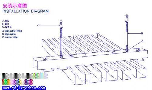 U型方通安装示意图 U型铝方通吊顶 铝方通安装