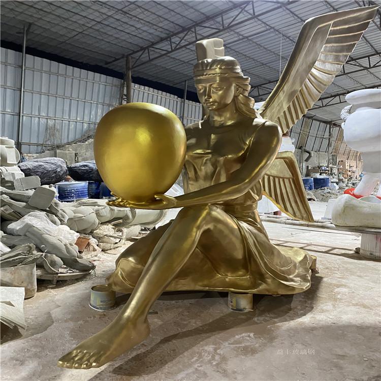 甘肃楼盘景观天使人物雕塑 玻璃钢胜利女神雕塑155580935