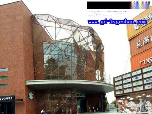 酒店门头外墙铝网格 外墙铝板网造型 氟碳铝网板