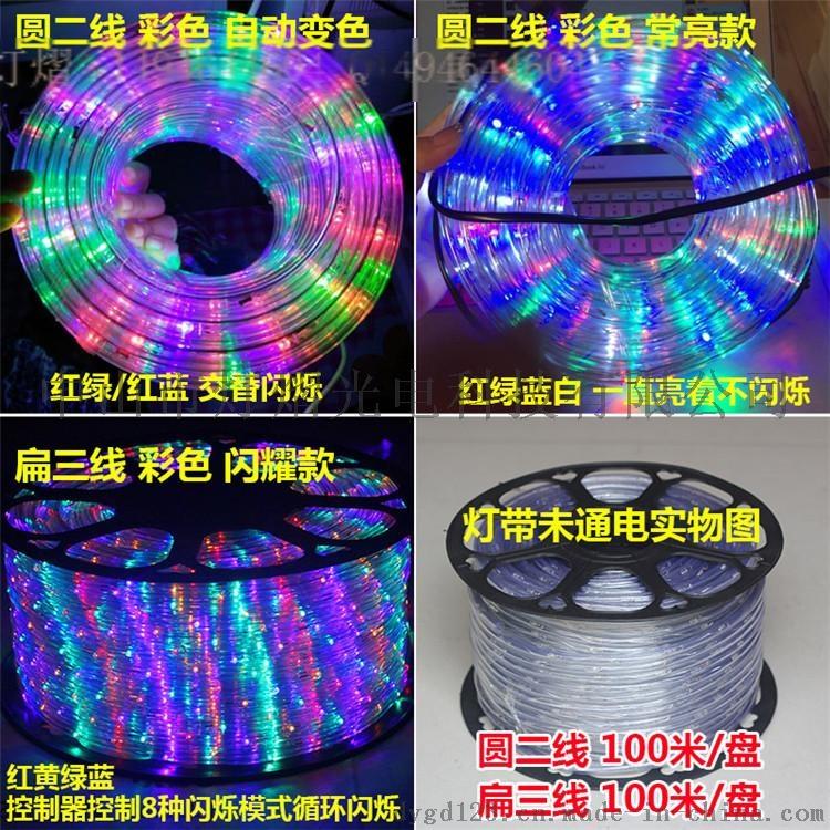 廠家直銷LED燈帶 戶外防水圓二線 彩虹管770066835