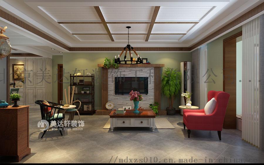 怀柔资深设计师李银波美式乡村风格电视墙装修效果图.jpg